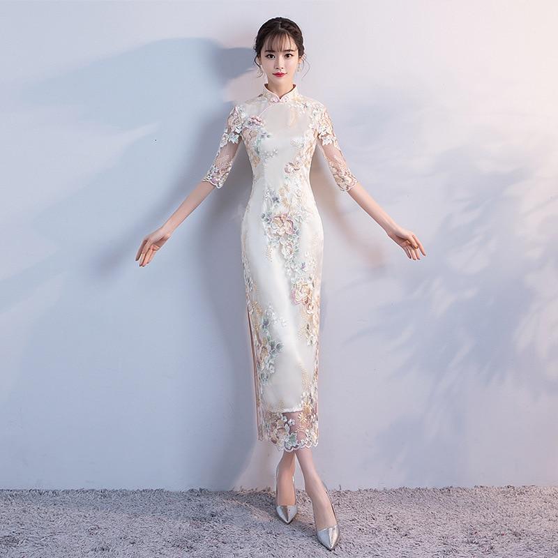 1454d2ffed9 Свадебная вечеринка Cheongsam Oriental вечернее платье Китайская  традиционная для женщин Элегантный Ципао пикантные длинный халат Ретро