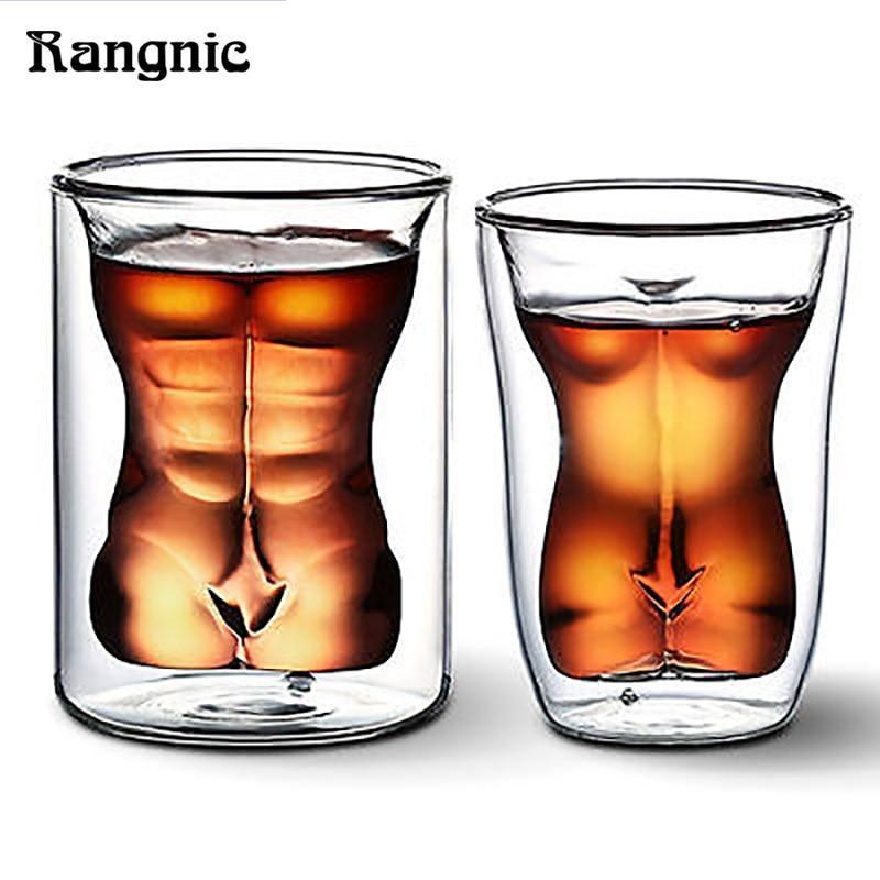 Rangnic Beer Mug Sexy Lady Men Wine Whisky Glass Durable Double Whiskey Glasses Wine Shot Glass Mug Amazing Gifts Original Cups