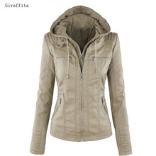 Giraffita Women's Faux Leather Jacket Coat Hoodies Lapel Zipper Detachable Jacket Coat For Female