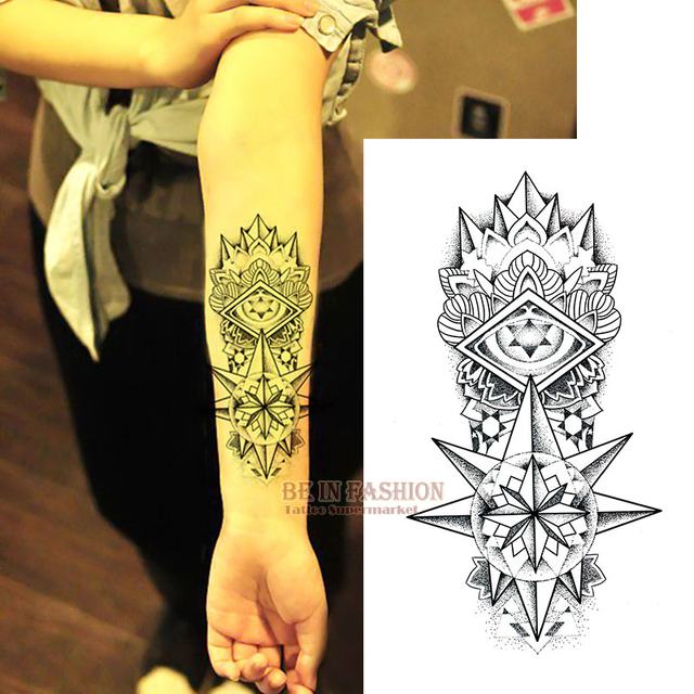 Fake Temporary tattoos shoulder lower arm transfer tattoo stickers black Totem hot sexy men spray waterproof tatto designs ZW029