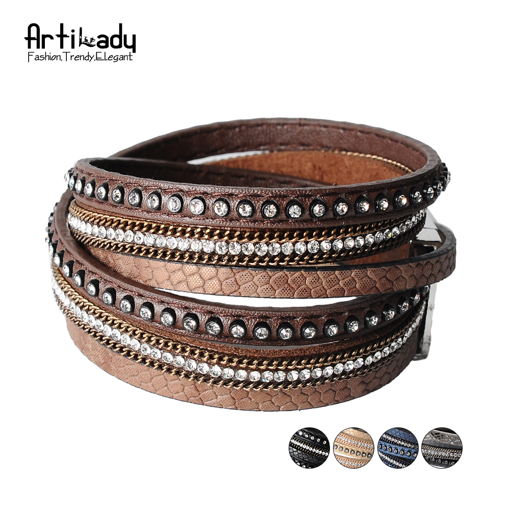 Artilady crystal line bangle charm winter leather bracelet women jewelry for party