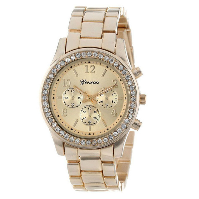 Faux Chronograph Quartz Plated Classic Round Ladies Crystals Watch Luxury Brand