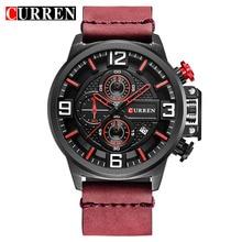 CURREN New Men Watches Fashion Sports Chronograph Red Wristwatch Waterproof Quartz Male Clock Relogio Masculino Montre Homme