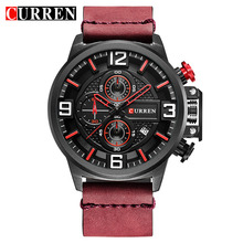 CURREN New Men Watches Fashion Sports Chronograph Red Wristw
