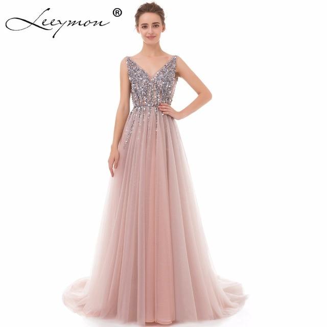 2019 Luxury Sexy Long Tulle Evening Dress High Split A Line Beading Spaghetti Strap V Neck Evening Gown vestido de festa longo