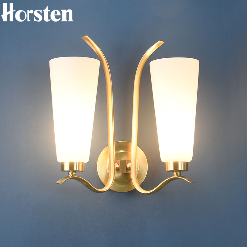 American Style Double Heads Copper H35cm Wall Lamp Bedroom Bedside Lamp Simple Nordic Wall Lights For