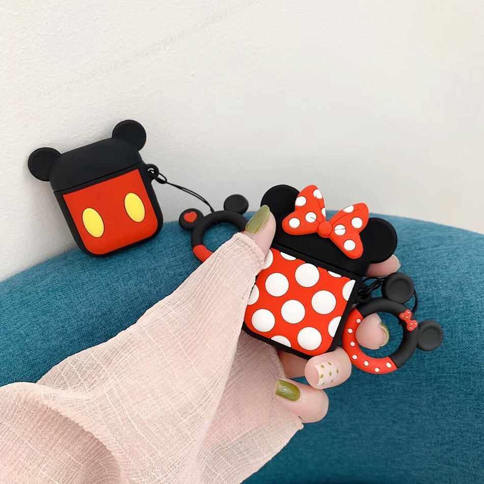 Para o Caso Bonito 3D AirPods Padrão Dos Desenhos Animados Caso do Fone de ouvido Para A Apple Airpods 2 Silicone Suave Proteja Capa com Anel de Dedo cinta