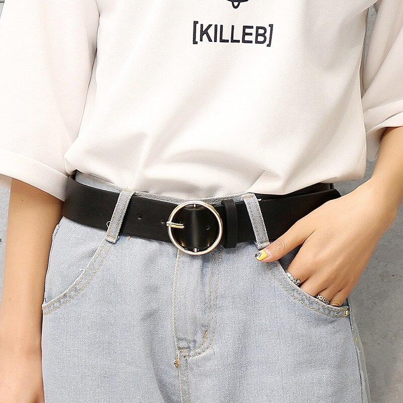 Модный классический круглый ремень с пряжкой, Женский широкий ремень, дизайн, высокое качество, Женские повседневные кожаные ремни для джинсов kemer