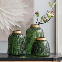 Nordic Simple Green Transparent Glass Vase Creative Flower Arrangement Design Feather Hydroponic Jewelry Ornaments