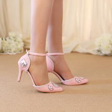 Pink Red White Pearl Wedding Shoes Pointed Toe Comfortable Middle Heel Ball Party Shoes Handmade Rhinestone Bridal Dress Shoes