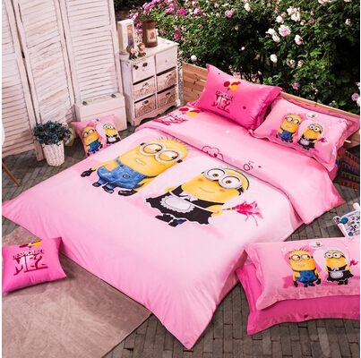 Boy Girl Despicable Me Minion Bed Kids Bedding Set Bed Sheet Quilt And  Pillow Case 100% Cotton Sheets Queen Cartoon Bedding Sets In Bedding Sets  From Home ...
