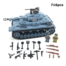 716 PCS WW2 German Technik Medium Military tank Building Blocks Soldier figures Weapon accessory Bricks Toys