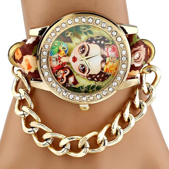 Gnova Platinum TOP Ethnic Fabric mexican Rhinestone Girl  Parrot Monkey woman wristwatch golden chain bracelet watch vintage