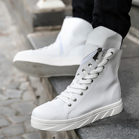 2017 Fashion High Top Mens Hip Hop Shoes Lace Up Flats Casual Shoes Men Black White PU Leather Shoes Zapatillas Hombre T030729