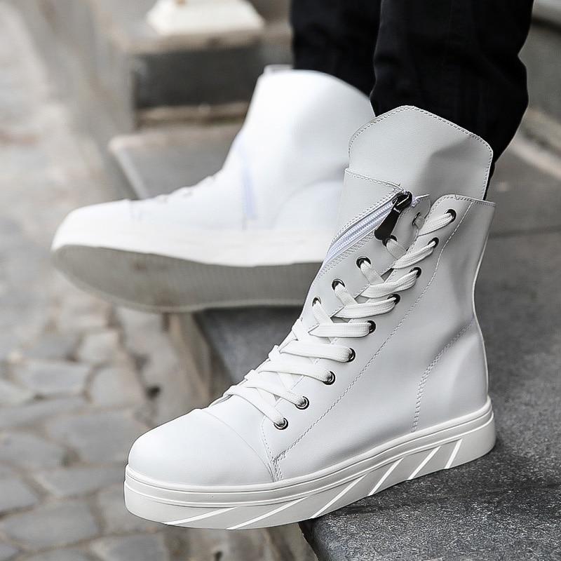 2017 Fashion High Top Mens Hip Hop Shoes Lace Up Flats Casual Shoes Men Black White PU Leather Shoes Zapatillas Hombre T030729