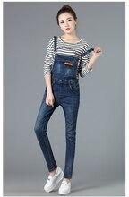 2016 весной джинсовой нагрудник брюки женские опрятный стиль отверстие подол комбинезоны брюки широкий джинсовый комбинезон девушка подтяжк джинсы