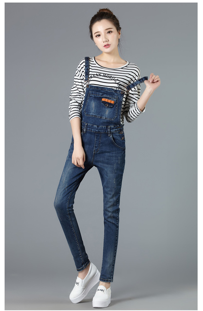 2016 Spring Denim Bib Pants Female Preppy Style Hole Roll Up Hem Overalls Trousers Loose Denim Jumpsuit Girl Suspender Jeans