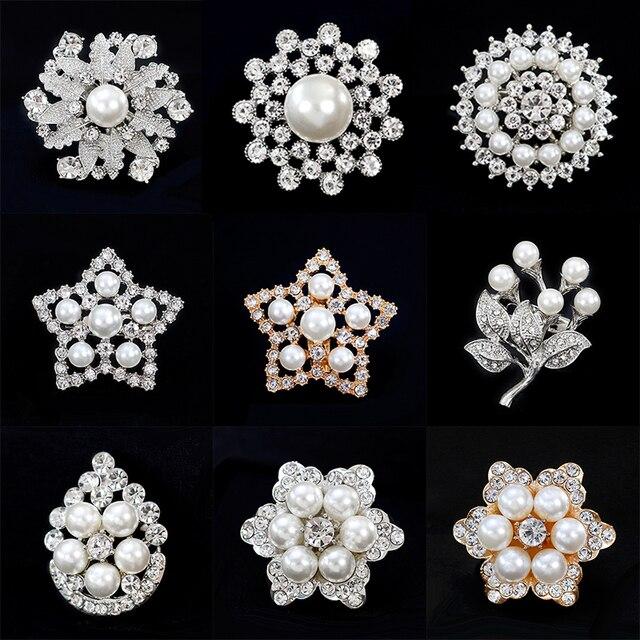 df9108f62 New Fashion Bridal Brooch Pins Silver Gold Flower Leaf Crystal Imitation Pearl  Brooches Wedding Bouquet Women Girls Jewelry Gift