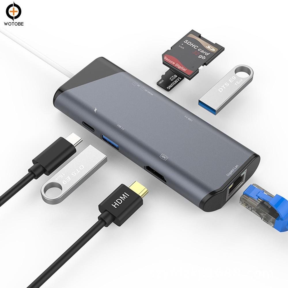 Moyeu de chargeur PD de USB C moyeu combiné multi-port de Type C pour MacBook vers Ethernet 4 K HDMI, lecteur de carte SD/TF et Ports USB 3.0