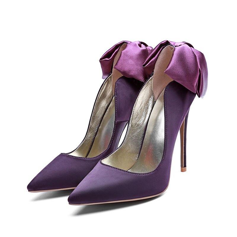 Sur pourpre Satin Pointu rouge Bout Chaussures automne noeud Dame Parti Talons Pompes bleu Haute Mode Printemps Papillon Peu Glissement Mince Profonde Femmes Noir Stilettos XaxwAqg77B