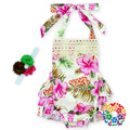 2016 Baby Girls Floral Ruffles Halter Summer Rompers One-Pieces with Flower Headbands Summer Toddler Baby Clothing