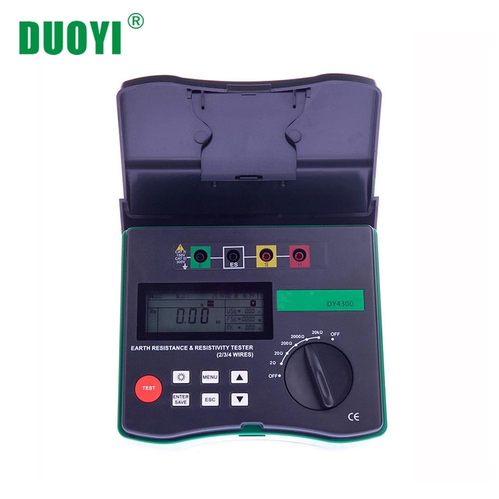 DUOYI DY4300 Digital Earth Tester Ground Resistance Tester Meter 4 Terminal Ground Resistance and Soil Resistivity