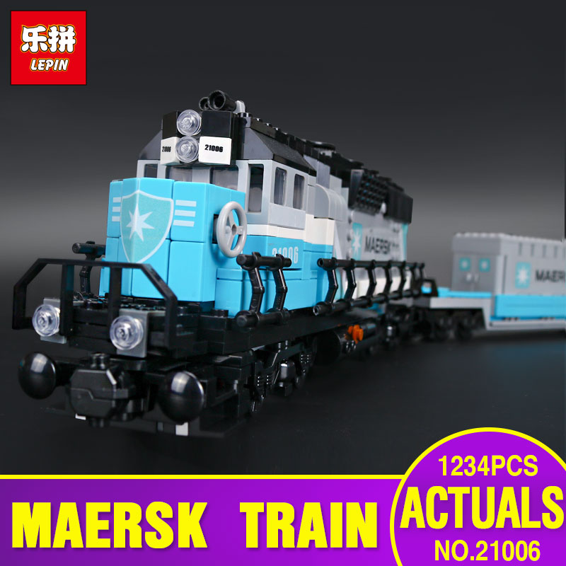 Lepin 21006 1234pcs New Genuine Technic Ultimate Series The Maersk Train Set Educational Building Blocks Bricks Toys Gift 10219 lepin 21006 compatible builder the maersk train 10219 building blocks policeman toys for children