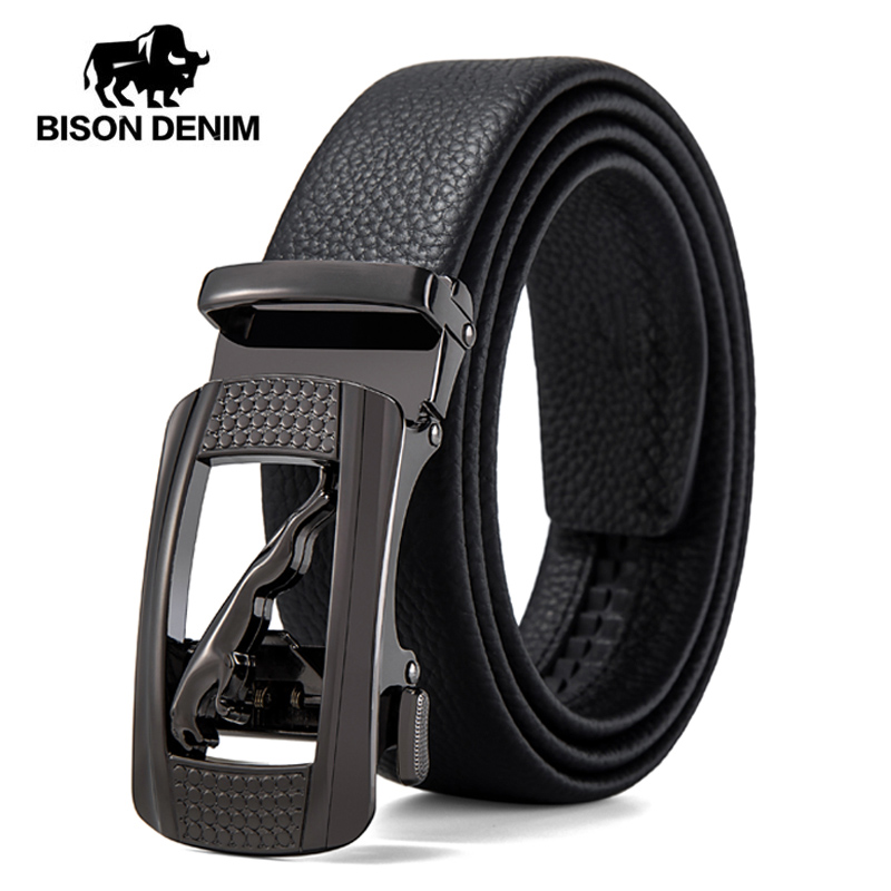 BISON DENIM Genuine Leather Men Belt Automatic Buckle Luxury Jeans Strap Cowskin High Quality Belt For Male N71496