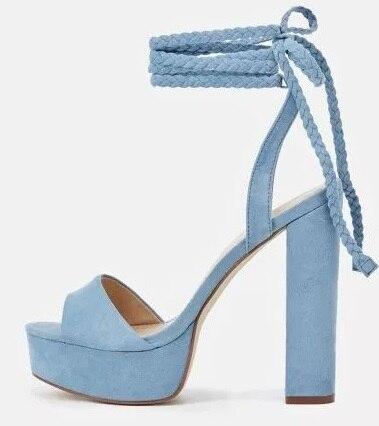 Elegant Sky Blue Chunky Heels Sandal Women High Platform Ankle Braided Tied Up Dress Shoes Peep Toe Thick Heel Summer Sandals