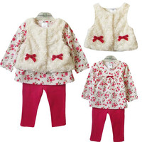 Spring Autumn 3pcs Sets 2017 Fashion Baby Girls ClothingLeopard Flower Girl S Clothes Baby Bow Fur