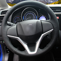 Hand-stitched Black Leather Steering Wheel Cover for Honda New Fit City Jazz 2014 2015