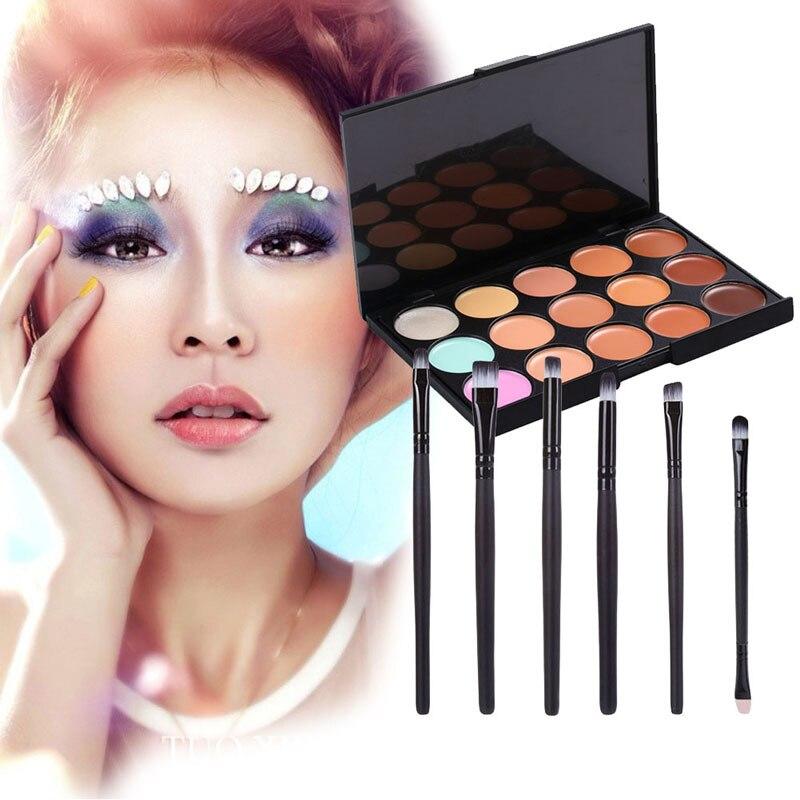15 Colors Concealer Palette + 6 Pieces Black Eye Brushes Makeup Base Foundation Concealers Face Powder GUB#