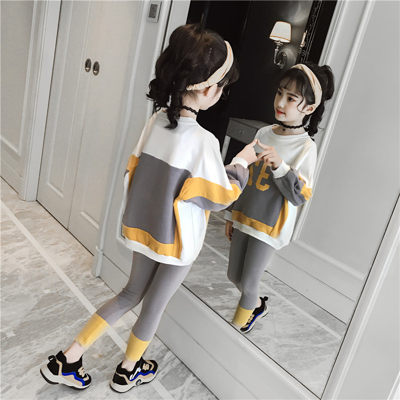 Direct Deal 2019 Girls Spring Sport Clothes Tops + Leggings Twinset Children Fashion Spliced Clothing Set Kids Sweater Suit B158 image