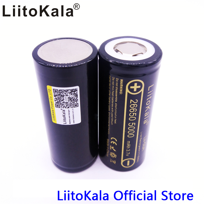 2PCS  LiitoKala Lii-50A 26650 5000mah 26650-50A Li-ion 3.7v Rechargeable Battery for Flashlight 20A  new packing rechargeable 1500mah 3 7v 26650 li ion battery brown