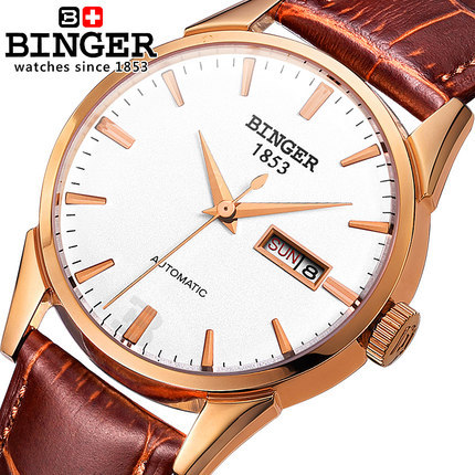 Binger Hot Brand Men s sports font b watches b font leather strap CZ Diamond Clock