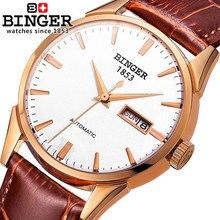 Binger Marca Hombres deportes relojes correa de cuero del Diamante de LA CZ Caliente Reloj Automático de Los Hombres Reloj Militar Reloj relogio masculino