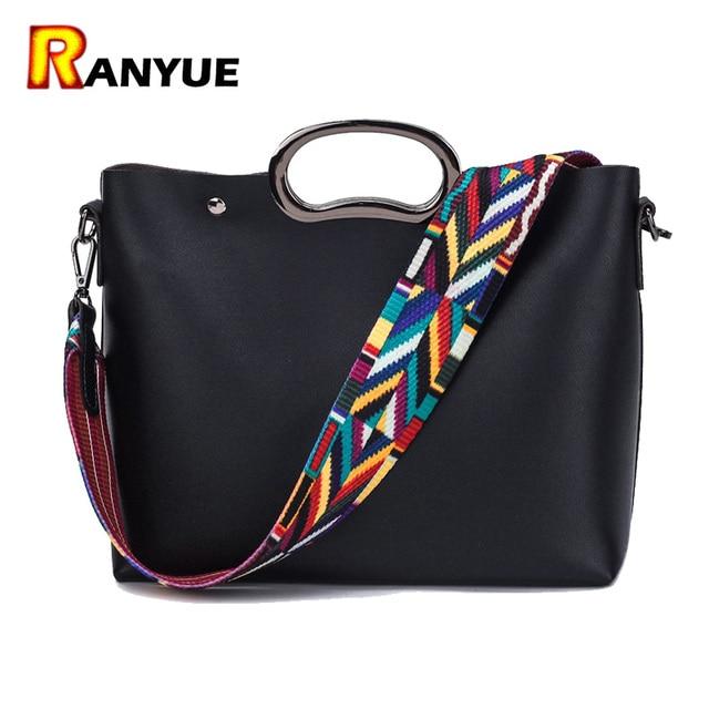 Fashion Colorful Strap Las Bag Women Shoulder Bags Famous Brand Designer Handbags High Quality Pu Leather Handbag