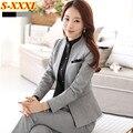 Зима мода рабочая одежда женские брюки костюмы тонкий формальное длинным рукавом пиджак и брюк Большой размер дамы офис носить костюм комплект