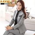 De moda del invierno visten pantalones mujer trajes delgado formal de la largo manga blazer y pantalones más el tamaño para mujer oficina juego del desgaste
