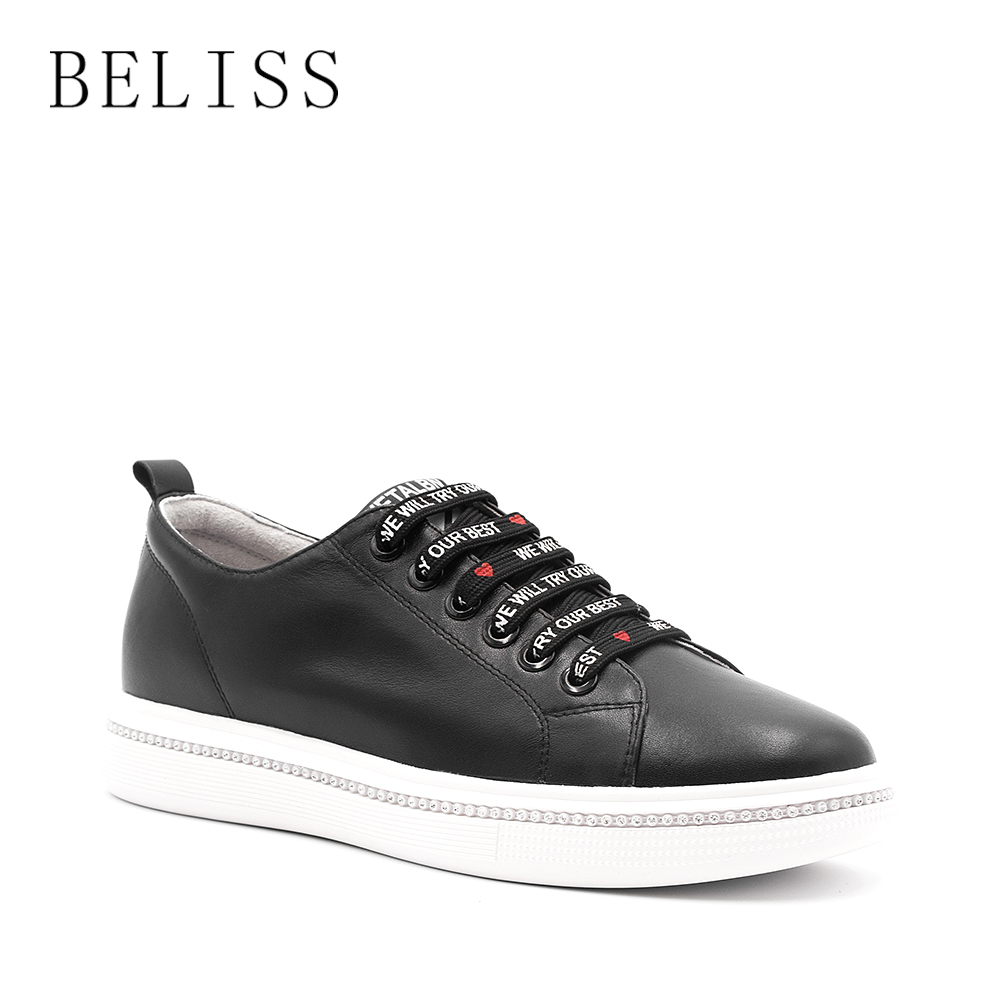 BELISS fashion women flats genuine leather shoes oxford shoes for women round toe lace up casual