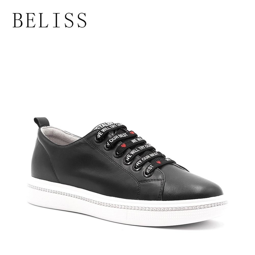 Beliss 패션 여성 플랫 정품 가죽 신발 여성을위한 옥스포드 신발 라운드 발가락 레이스 업 캐주얼 신발 봄과 가을 p16-에서여성용 플랫부터 신발 의  그룹 1