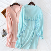 2019 Spring and Summer Cotton Crape Cloth Long Sleeve Thin Leisure Nightgown Sexy Nightwear Solid Sleep Wear Home Sleeping Dress