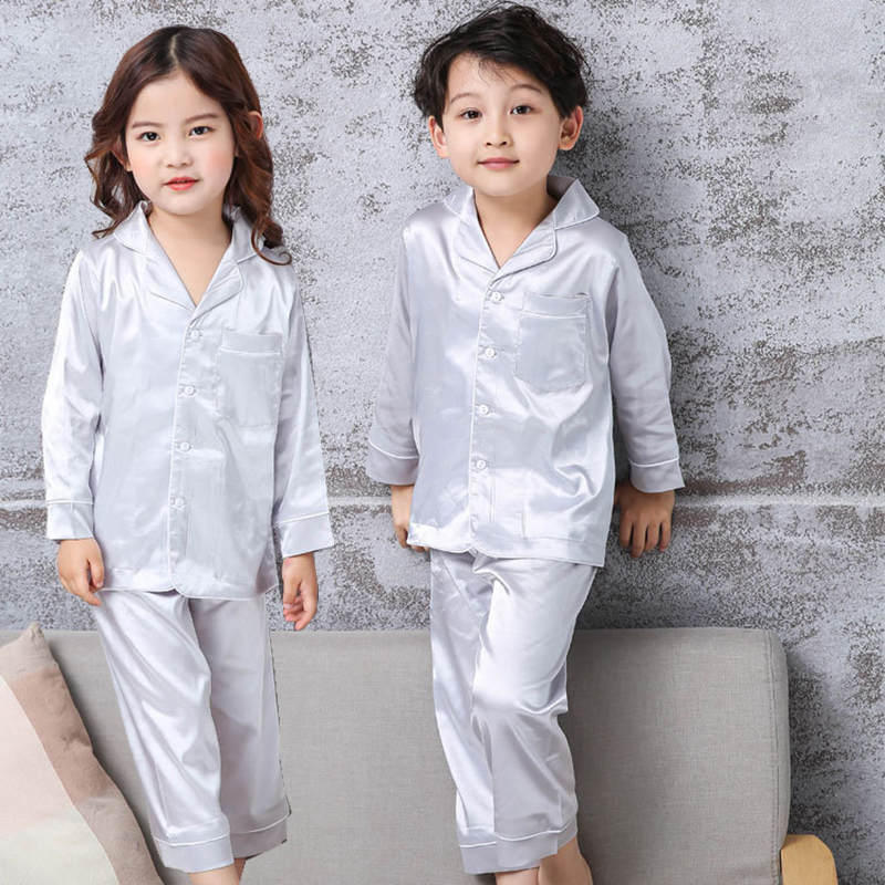 Kids Pajamas Suit Children Pajamas for girl Boy Silk Pijama Seti Trim Satin Cami kids Sleepwear Short Sleeve Nightwear 2PC Korea scallop trim cami dress