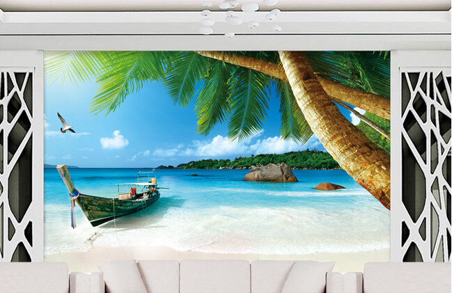 Custom landscape wallpaper, boat beach Maldives landscape murals for the living room bedroom TV background wall papel de parede custom ceiling wallpaper blue sky and white clouds landscape murals for the living room bedroom ceiling wall papel de parede