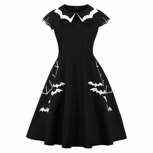Gothic Summer Dress Women Black Bat Embroidery Hollow-Out Peter Pan Collar