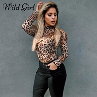 Glamaker Leopard print skinny body Kobiety sexy body kombinezon romper body romper Przypadkowa kobieta wiosna lato kobiet