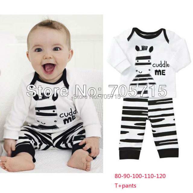 Retail Free shipping cartoon zebra long sleeve shirt + pants set,children shirt,children clothing set