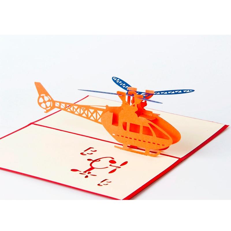 1db helikopter 3D papír lézerrel vágott pop up anime Vintage születésnapi üdvözlőkártyák ajándékok kíván levelezőlapok kézműves boríték ajándék