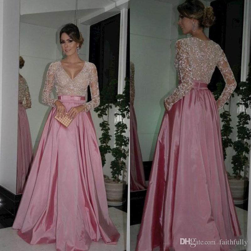Arabic Crystals Prom Dresses Pink 2017 Elegant Party Gown Long ...