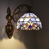 Tiffany Wall Lamp European Baroque Stained Glass Wall Sconce Mirror Bedroom Bathroom Cabinet Fixtures E27 110 240V